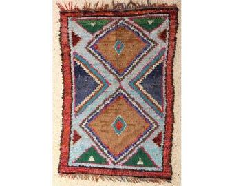 "230X150 cm 7'6"" x 4'11""          L28356  boucherouite , boucharouette,  moroccan rugs , berber rugs, morocco carpets"