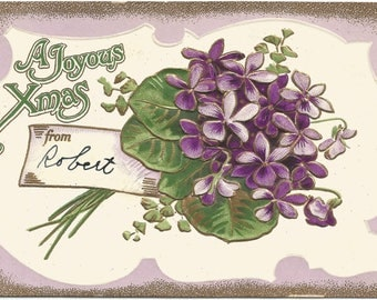 Bouquet of Purple Violets on a white and Royal Purple Background A Joyous Xmas Vintage Postcard Christmas Greetings