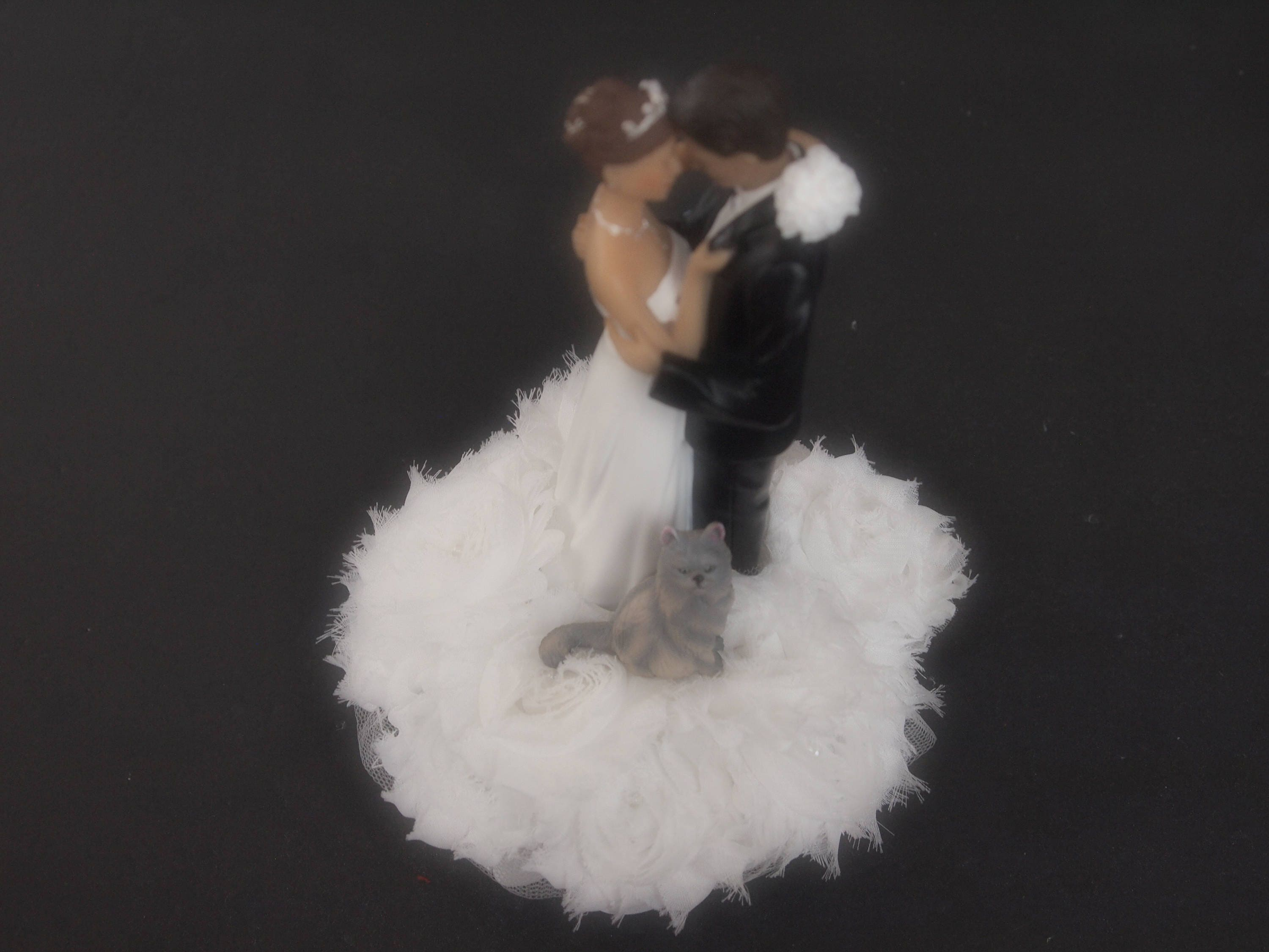 Wedding Cake Topper White Bride Groom Persian Cat Gray Sitting