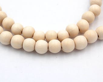 12mm White Wood Beads, round wood boho chic -16 inch strand