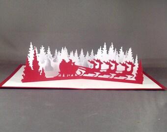 3D Christmas Card with Santa Sleigh Card   Christmas Pop Up Cards Funny Santa Card    3D Christmas Cards   Cute Christmas Cards   Xmas Card