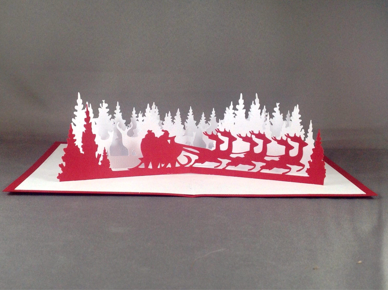 3d christmas card with santa sleigh card christmas pop for 3d xmas cards to make