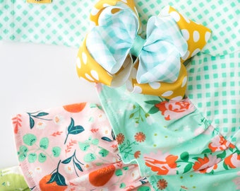 """MJ Bows - Gingham Peyton - 5"""" double stacked bow made to match Matilda Jane Clothing, The Adventure Begins"""