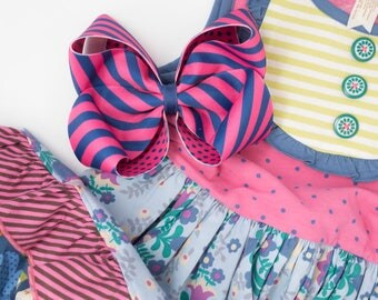 "MJ Bows - Pajama Party Emory XL - 6"" bow made to match Matilda Jane Clothing, Make Believe"