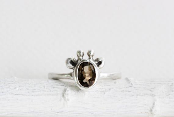 Brown Giraffe Ring, Smoky Quartz and Sterling Silver Ring,Graffe Fine Jewelry
