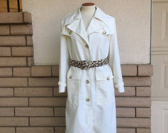Vintage White Trench Coat 1960s All Weather Coat by Misty Harbor Size 16R