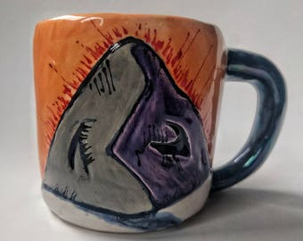 Fire on the mountain handmade pottery mug holds 8 oz, great mother's day present, small cups of coffee stay hot and delicious
