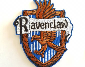 1pc Harry Potter Ravenclaw Hogwarts School House Badge Embroidered Applique Patch. Iron On or Sew On Badge for T-shirts & Gifts. 6cm wide