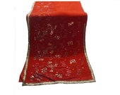 15% (TYFYP Sale) Used Sari in a deep rust color,Dress Making, Fabric, Sarong, Drape, Embroidered Sari