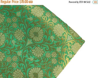 15% off on One yard of Indian brocade fabric in light Turquoise green/Indian sari fabric/costume fabric/Fabric for dresses/benarasi brocade