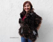 Felted wings scarf Brown scarf Curly locks large scarf feathers Felt shawl