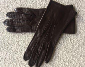 Vintage darkbrown leather Laïmbock gloves, size 7