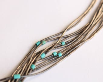 Old Liquid Silver necklace with Turquoise Accents Multi Strand