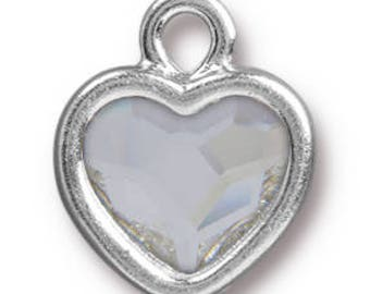 Heart Drop Crystal, Rhodium Plate -13mm