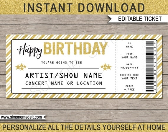 Concert ticket birthday gift printable template surprise concert il570xn yelopaper