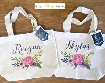 Tote Bag-3-Flower Girl bags-Tote Bags-Gift Bag-Wedding Bags-Bridesmaids Bags-Monogrammed Tote Bags-Custom Tote Bag-Modern Vintage Market