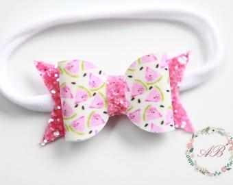 Watermelon Headband, Baby Watermelon Headband, Watermelon Bow Headband,  Bow Headband, Girls Bow Headband