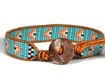 Bead Loom Bracelet Leather Wrap Bracelet Turquoise Blue Arrows Boho Bracelet Bohemian Jewelry