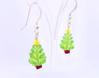 Christmas Earrings Christmas Tree Earrings Green Earrings Festive Earrings Xmas Tree Earrings Christmas Gift for Her Holiday Earrings