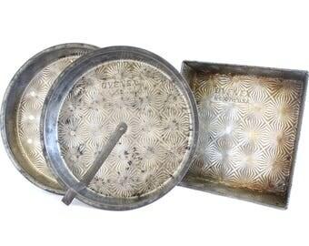 "Tin Ovenex Cake Pans N-93 8"" Round Slider or Square Ovenex N-600 7 1/2"", Antique Bakeware Food Photography Props USA Ovenex Layer Cake Pan"