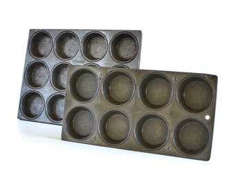 "Antique Muffin Tin Kreamer Dozen, or Unmarked 8 Cupcake Pans, Food Photography Prop 2.75"" shallow"