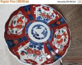 """30% OFF SALE Antique IMARI Plate Japanese Porcelain Pottery Koi Fish Floral Motif Cobalt Rust 8.5"""" Scallop Edge"""