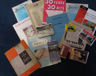 Huge Paper Ephemera Lot Postcards Sheet Music Ads Cards Map Assortment DIY Collage Mixed Media Crafting Decoupage Mix