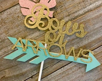 Bows or Arrows Baby Gender Reveal Cake Topper, Baby Shower Cake Topper, Ready to ship in 3-5 days, Gender Reveal