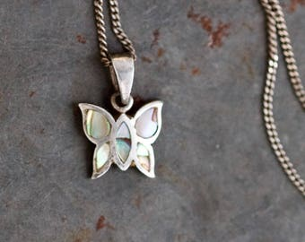 Small Butterfly Necklace - Sterling Silver and Mother of Pearl Pendant on Chain - Elegant Short Necklace