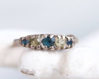 Dainty Siver Ring - Sterling Silver with Blue and clar Rhinestones - Ring size 8 - Vintage Oxidized jewelry
