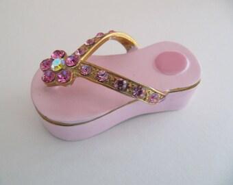 Pink Enamel flipflop trinket box, treasure keepsake ring jewelry jewellery box, pink enamel rhinestones magnetic box, gifts for her under 40