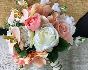 Rustic Wedding Bouquet, Silk Bridal Bouquet, Peach Wedding Bouquet, Succulent Bouquet,Wedding Accessory,Green Wedding Bouquet,Rustic Bouquet
