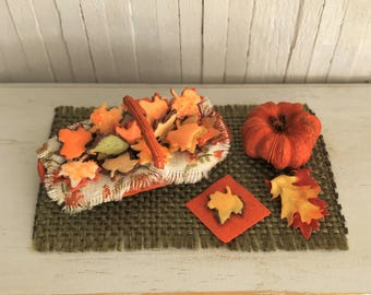 Miniature Cookie Basket Filled With Maple Leaf Sugar Cookies In Pretty Fall Colors