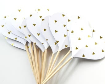 Golden Heart Cupcake Toppers, Wedding Cake Toppers, Anniversary, Birthday Party