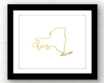 New York Gold foil print | gold foil art print | New York gold foil wall art | home state sign | gold foil sign | New York wall art | NYC