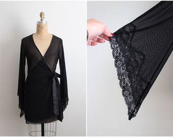 Vintage 80s Fredericks Nightgown Lace Black Robe/ Robe Slip/ Wedding Slip / Lace lingerie/ Bohemian Lace Robe/ Size S/M