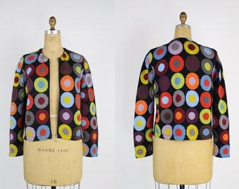 80s Rainbow Circles Cardigan/ Vintage Sweater / Colorful / Size M/L