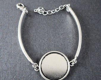 "7"" bracelet w/extending chain-set for 20mm Cab-Antique silver tone round tray Setting,Cabochon Setting, pendant Setting, Bezel Setting-"