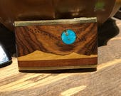 RESERVED* 1970s wooden turquoise inlay buckle