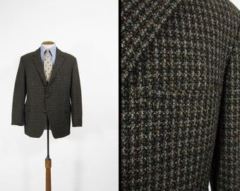 Vintage British Tweed Jacket 1960s Houndstooth Brown Fleck Wool Sport Coat 3 Roll 2 - Size 42