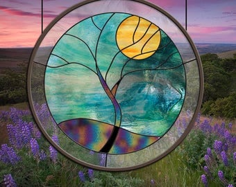 Round Stained Glass Window Blue Teal Rain Tree Yellow teal leaded glass panel