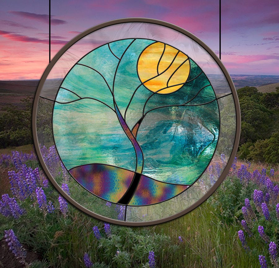 Round Stained Glass Window Blue Teal Rain Tree Yellow teal