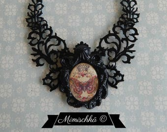 necklace black choker octopus royal butterfly