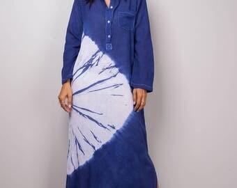 Shirt Dress, Long Sleeve White and blue Summer Dress, Shibori Tie Dye Dress, Festival outfit, Blue shirt dress : Shibori Collection