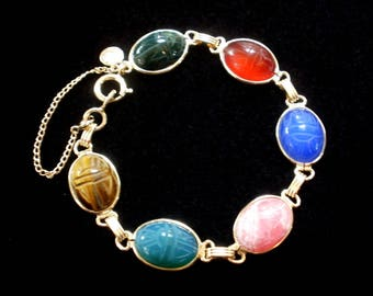 CURTIS CREATIONS Scarab Bracelet Gold Filled Single Link Excellent Condition