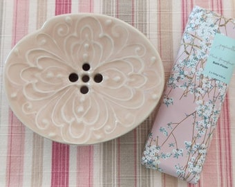 Soap Dish with a drain hole / Japanese Design/ Tangerine Pink
