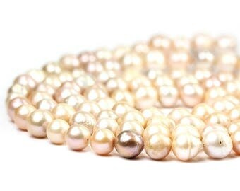 SUMMER SALE Nucleated Freshwater Pearls 4 Kasumi Like Near Round Pink Peach Freshwater Pearls Semi Precious Pearls June Birthstone