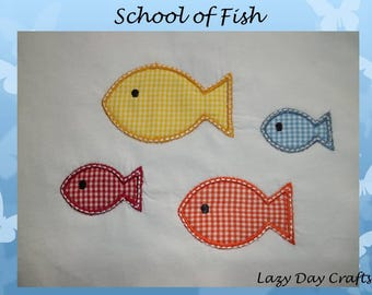 School of Fish - Short Sleeve Appliqued Tshirt - Infant and Toddler Size Tshirt - 6 months to 5/6