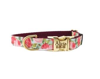 Rose Dog Collar, Personalized Collar