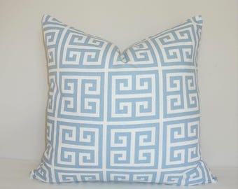 Blue White Cashmere Blue Greek Key Pillow Cover Home Decor by HomeLiving Throw Pillow Cover Choose Size